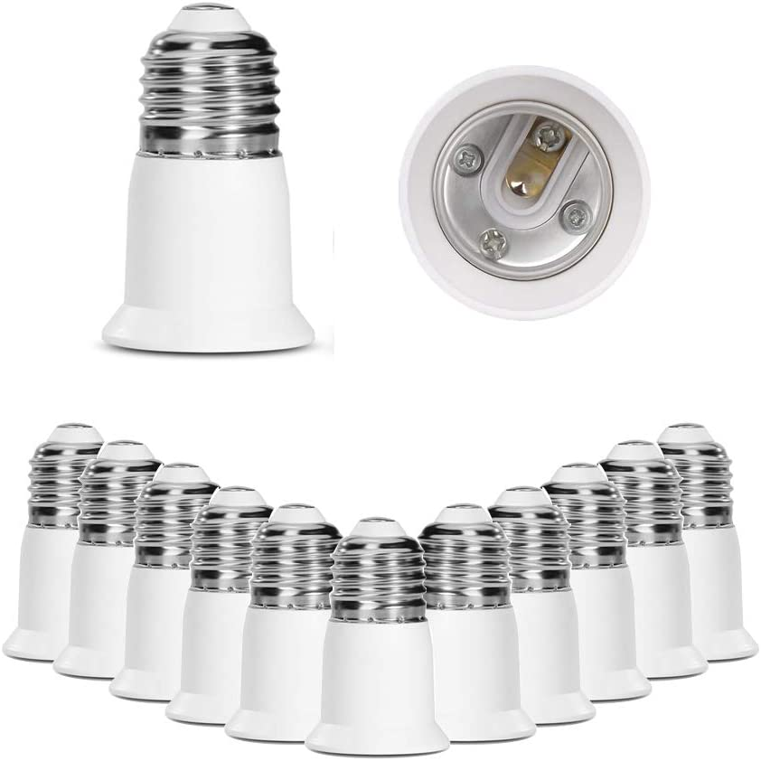 SumVibe E26 Socket Extender, E26 to E26 Light Socket Extender, 3CM/1.2 Inch Light Socket Extension, 12-Pack