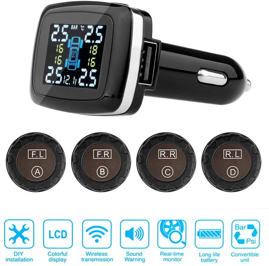 Winnes Tire Pressure Monitoring System, Wireless TPMS with 4 External Sensors, Cigarette Lighter Plug LCD Display,Temperature Gauge and Battery Voltage(0 to 50.75 Psi) External