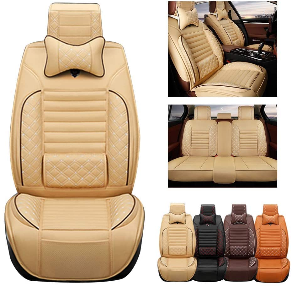 Fit For Dodge Avenger Caravan Charger Challenger Dart Durango Journey Viper 5-Seats Car Seat Covers PU Leather Waterproof Seats Cushion fit All Season - Full set & 2 pillows Luxury Edition Beige