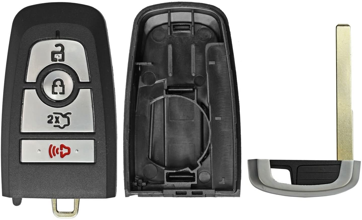 qualitykeylessplus Replacement Case Shell, Button Pad and Uncut Flip Key for Ford Keyless Entry Remote Fobs FCC ID M3N-A2C94078000 with Free Key Tag Return Service (1)