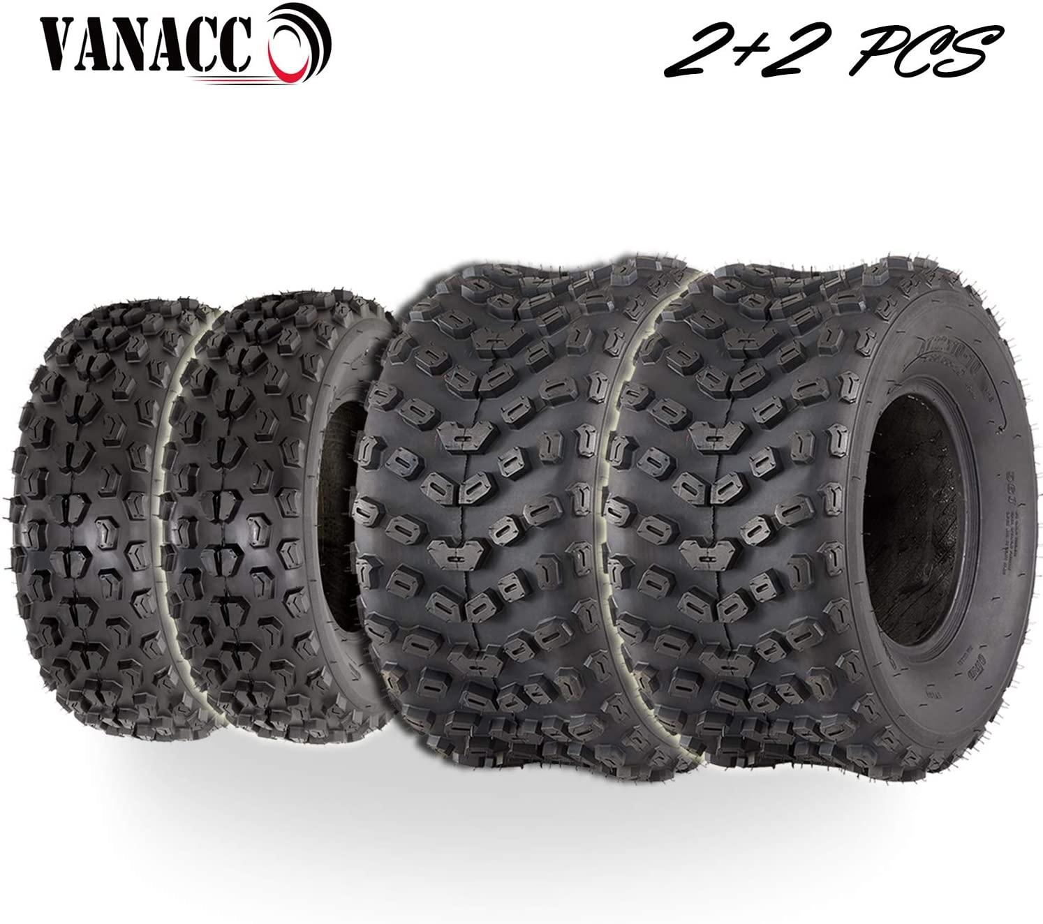 VANACC Set of 4 ATV/UTV Tires 22x7-10 Front 22x10-10 Rear Tubeless 22x7x10 22x10-10