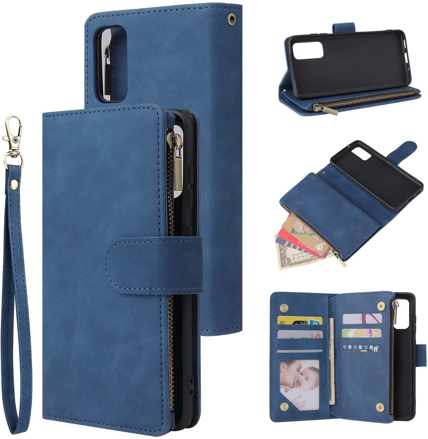 UEEBAI Wallet Case for Samsung Galaxy S20 Plus, Premium Vintage PU Leather Magnetic Closure Handbag Zipper Pocket Case Kickstand Card Holder Slots with Wrist Strap TPU Shockproof Flip Cover - Blue