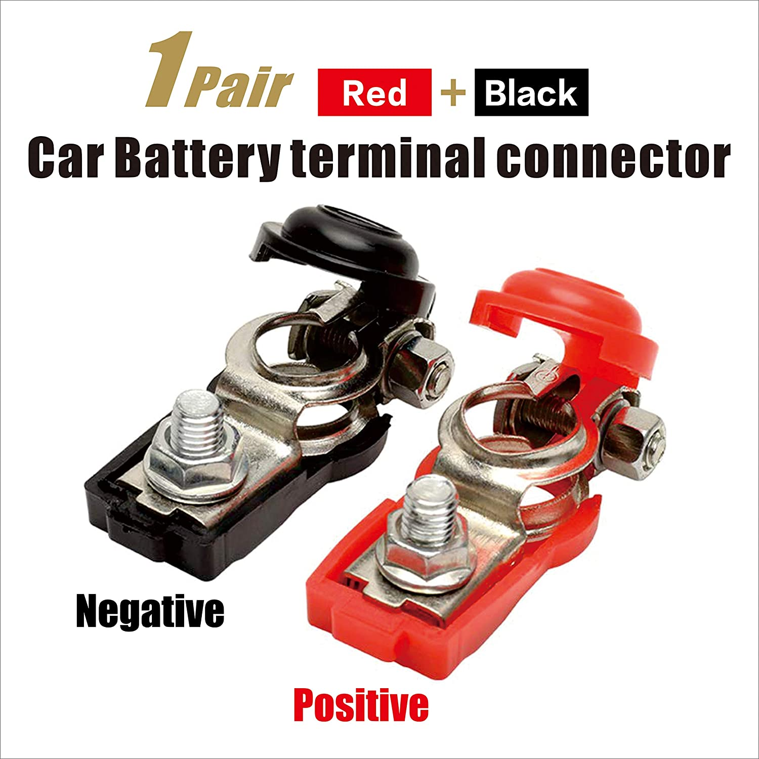 1 Pair Car Battery terminal connector Clamp Clips Negative Positive for Auto Car Truck (Red+Black)