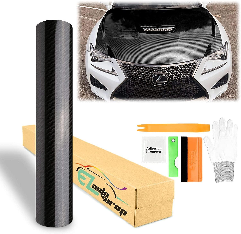 EZAUTOWRAP Black 5D Carbon Fiber High Gloss Car Vinyl Wrap Sticker Decal Film Sheet Bubble Free Air Release Technology - 60