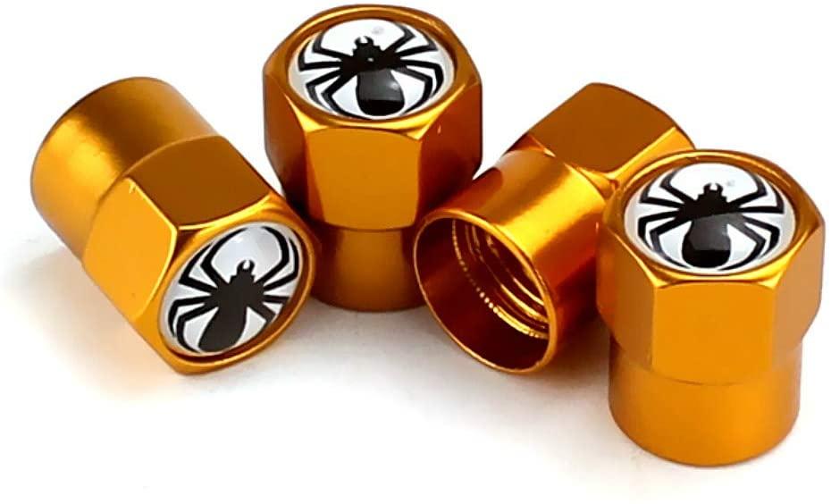 Cyan Tire Valve Caps Car Air Valve Stem Caps Truck Sedan SUV Motorcycle Accessories 4 Pack(Spider Gold)