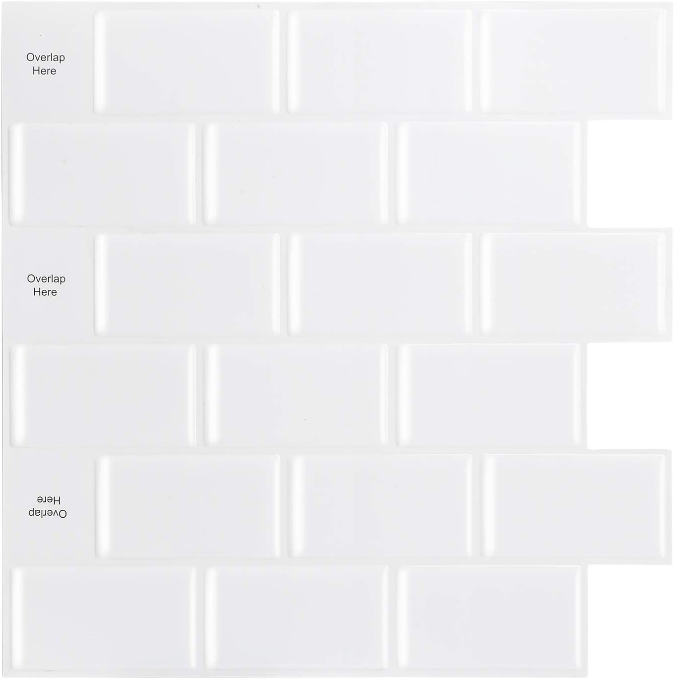 HomeyMosaic Peel and Stick Tile for Kitchen Backsplash,Stick on Tiles for Kitchen, 12x12 inches Subway Tile with White Grout(10-Sheets)