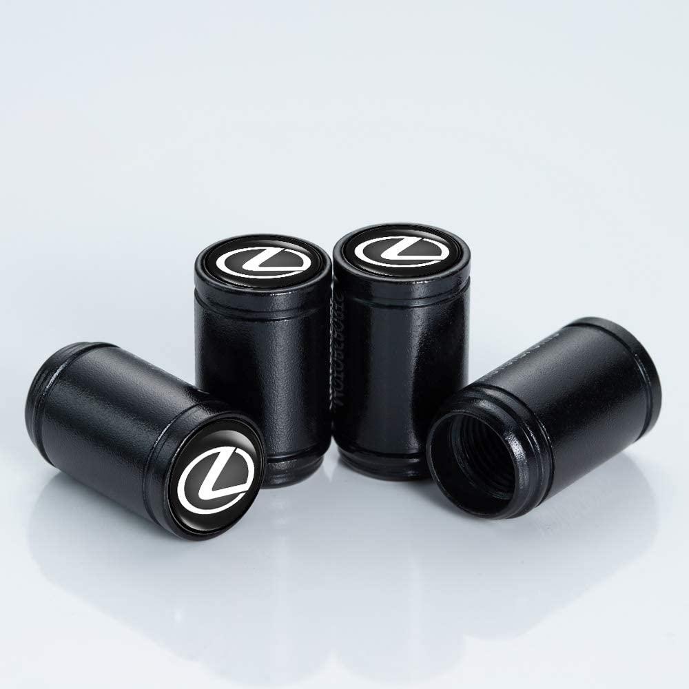 N/P 4 Pcs Tire Valve Stem Caps Suit for Lexus 2018 NX300h 2018-2013 ES350 GS350 2016-2013 GS300h GS450h Styling Decoration Accessories,Black