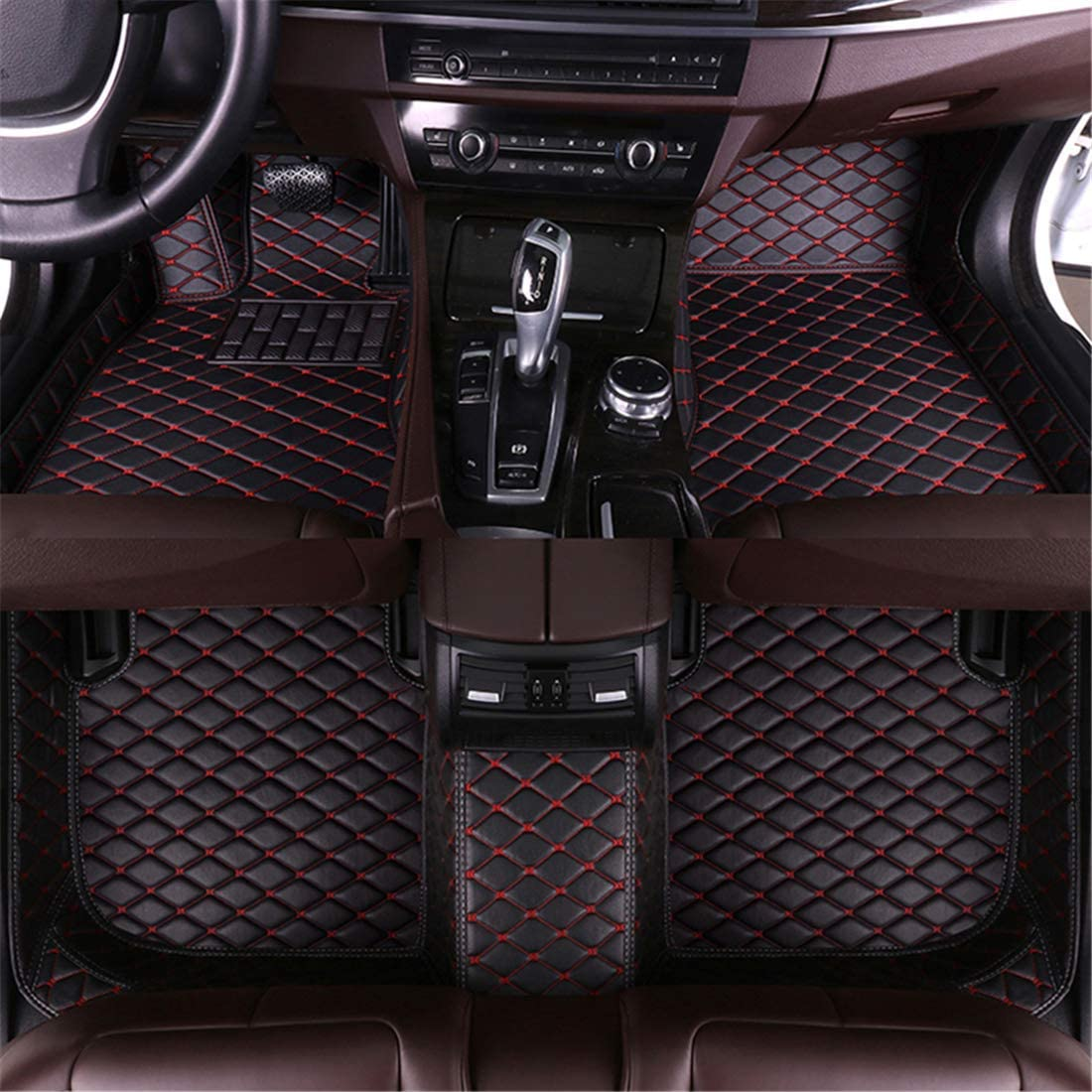 Muchkey car Floor Mats fit for Nissan Rogue 5seat 2014-2019 Full Coverage All Weather Protection Non-Slip Leather Floor Liners Black-Red