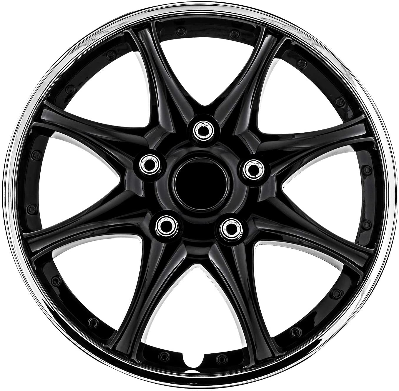 Pilot WH522-15C-B Universal Fit Black and Chrome 15 Inch Wheel Covers - Set of 4
