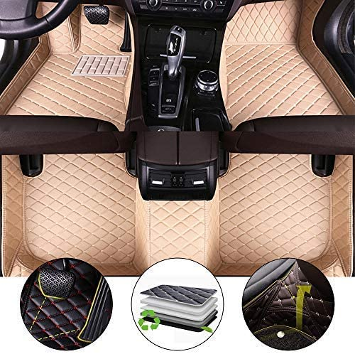 All Weather Floor Mat for 2014-2017 Land Rover Range Rover 5-Seat(Back Row no air Outlet) Lengthen Full Protection Car Accessories Beige 3 Piece Set