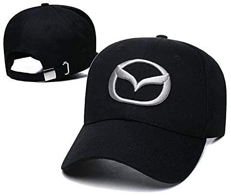 Yoursport Car Logo Embroidered Baseball Cap Men Women Adjustable Hat Travel Cap Fit Mazda Accessories (Black)