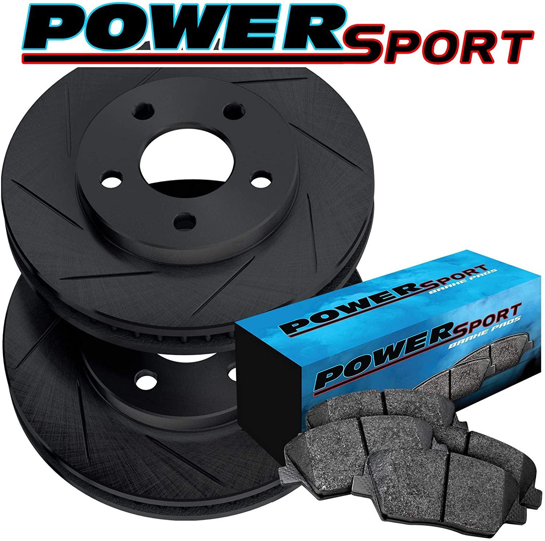 Fit 1983 Nissan 720 Front PSport Black Slotted Brake Rotors Kit+Ceramic Brake Pads