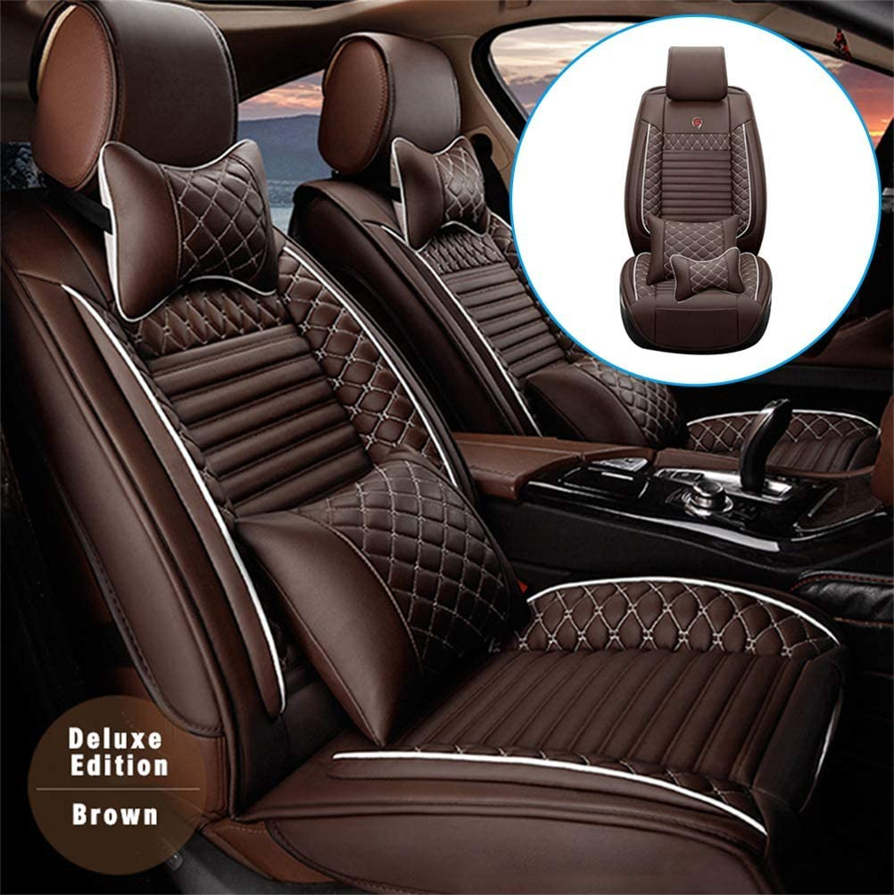 DBL Car Front Seat Cover for Cadillac CT6 (Airbag Compatible) Luxury PU Leatherette Car Seat Cushions Protector (Coffee)