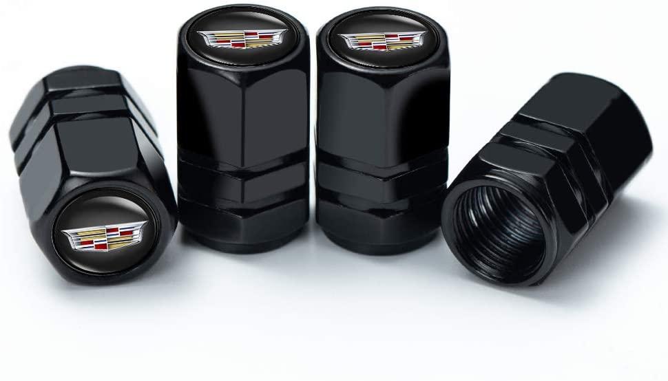 OBA PINGIGN 4 Pcs Metal Car Wheel Tire Valve Stem Caps for Cadillac XT4 XT5 CT6 SRX XTS ATS CTS CTS EXT Coupe Hybrid Escalade Logo Styling Decoration Accessories.