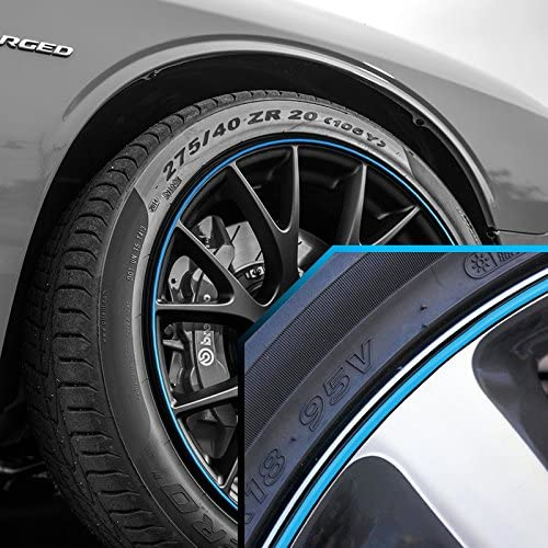 Upgrade Your Auto Wheel Bands Sky Blue in Black Pinstripe Edge Trim for Dodge Magnum 13-22