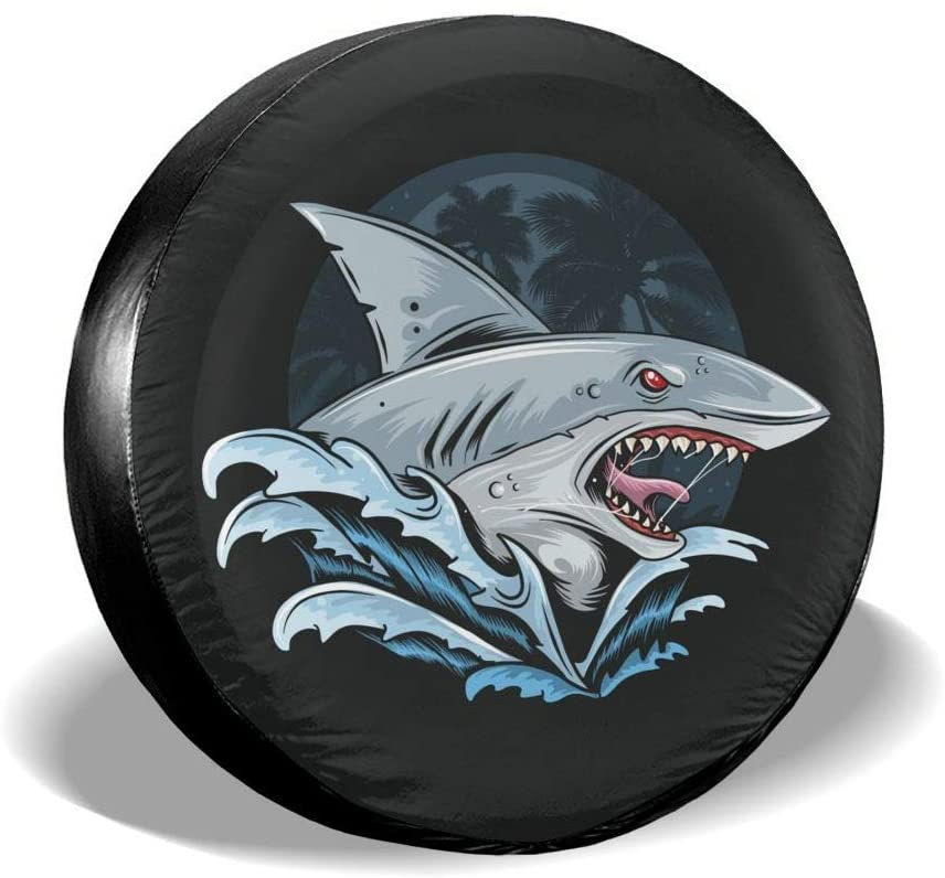 Kiuloam Shark Rage Face Deep Blue Sea Artwork Spare Tire Cover Polyester Universal Sunscreen Waterproof Wheel Covers for Jeep Trailer RV SUV Truck and Many Vehicles (15