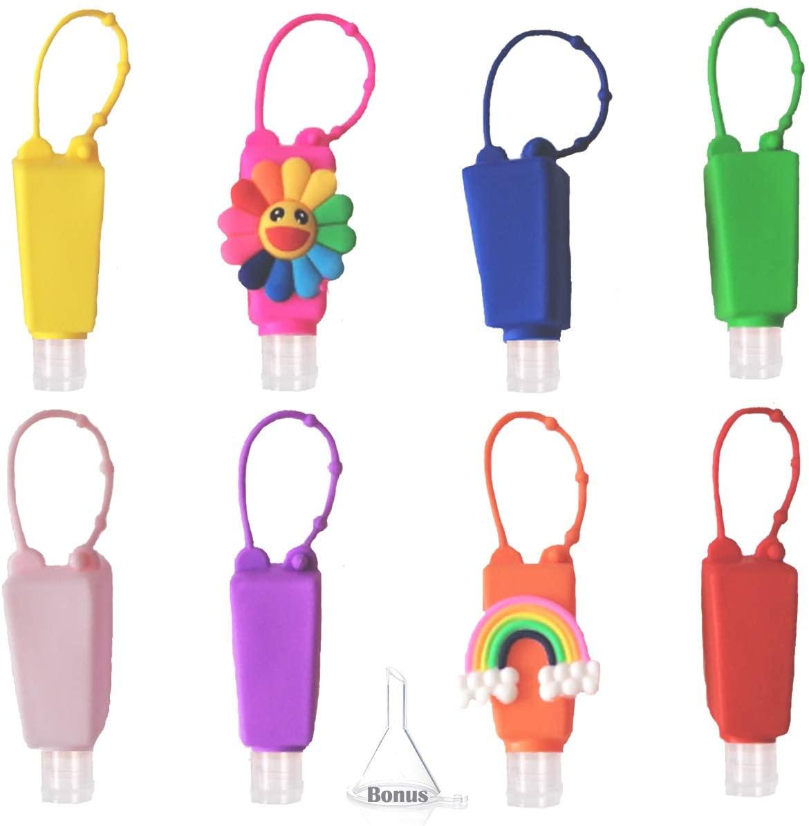 NimJoy 8PCS Empty Mixed Kids Hand Sanitizer Travel Size Holder Keychain Carriers, 8-1 fl Oz. Flip Cap Reusable Portable Bottles w/Colorful Silicone Case