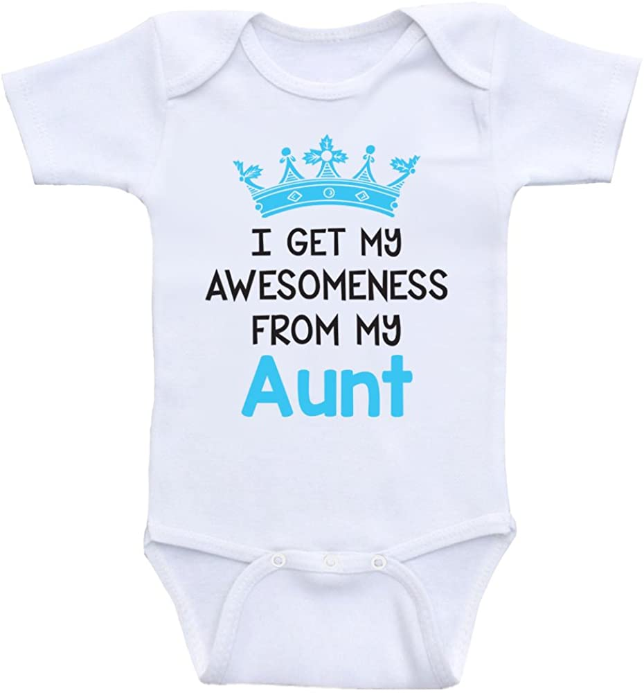 Heart Co Designs Funny Baby One Piece I Get My Awesomeness from My Aunt Baby Onesie