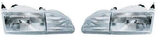 Go-Parts - PAIR/SET - for 1996 - 1997 Mercury Cougar Front Headlights Assembly Front Housing / Lens / Cover - Left & Right (Driver & Passenger) FO2503136 FO2502136 F6SZ 13008 AJ F6SZ 13008 BJ