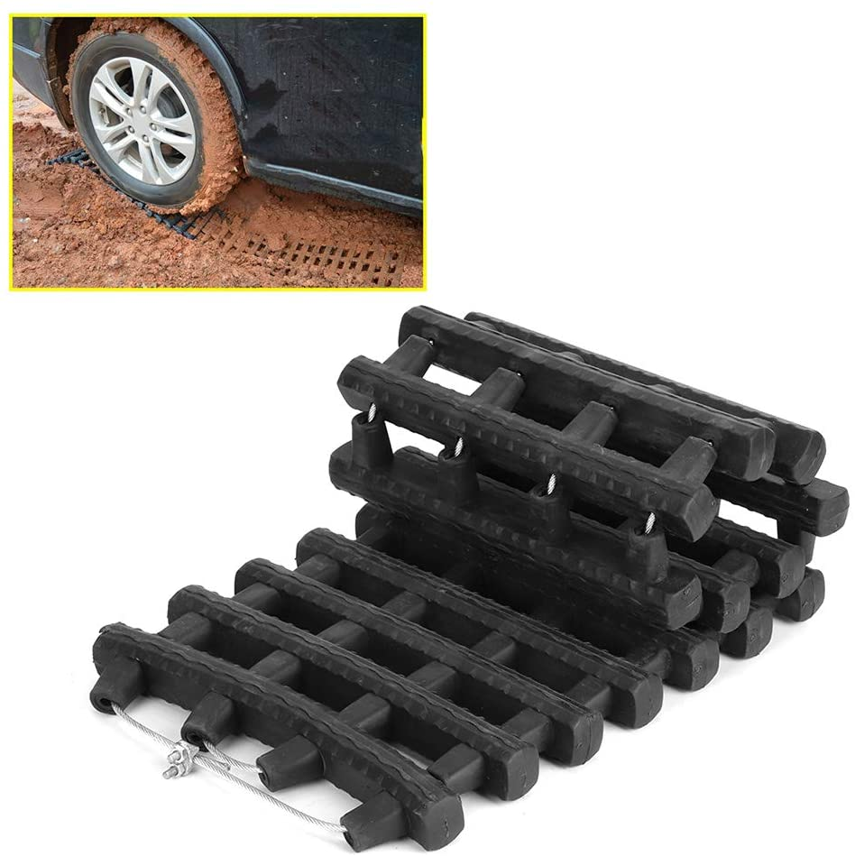 Estink Tire Traction Mats, 60cm/23.6in Recovery Traction Mat Board Portable Emergency Track Tire Ladder Anti-Skid Chains for Off-Road Mud, Ice Snow Sand