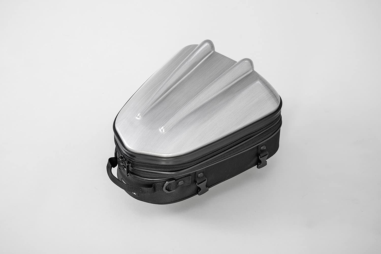 Tanax Motorcycle Polycarbonate Hard-Shell-Form Sporty Rear Seat Bag MT-Style, Capacity : 10-14L (2.8-3.5Gal), Model MFK-239 - HairLine Silver