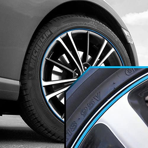 Upgrade Your Auto Wheel Bands Sky Blue in Black Pinstripe Trim for Toyota Land Cruiser 13-22' Rims