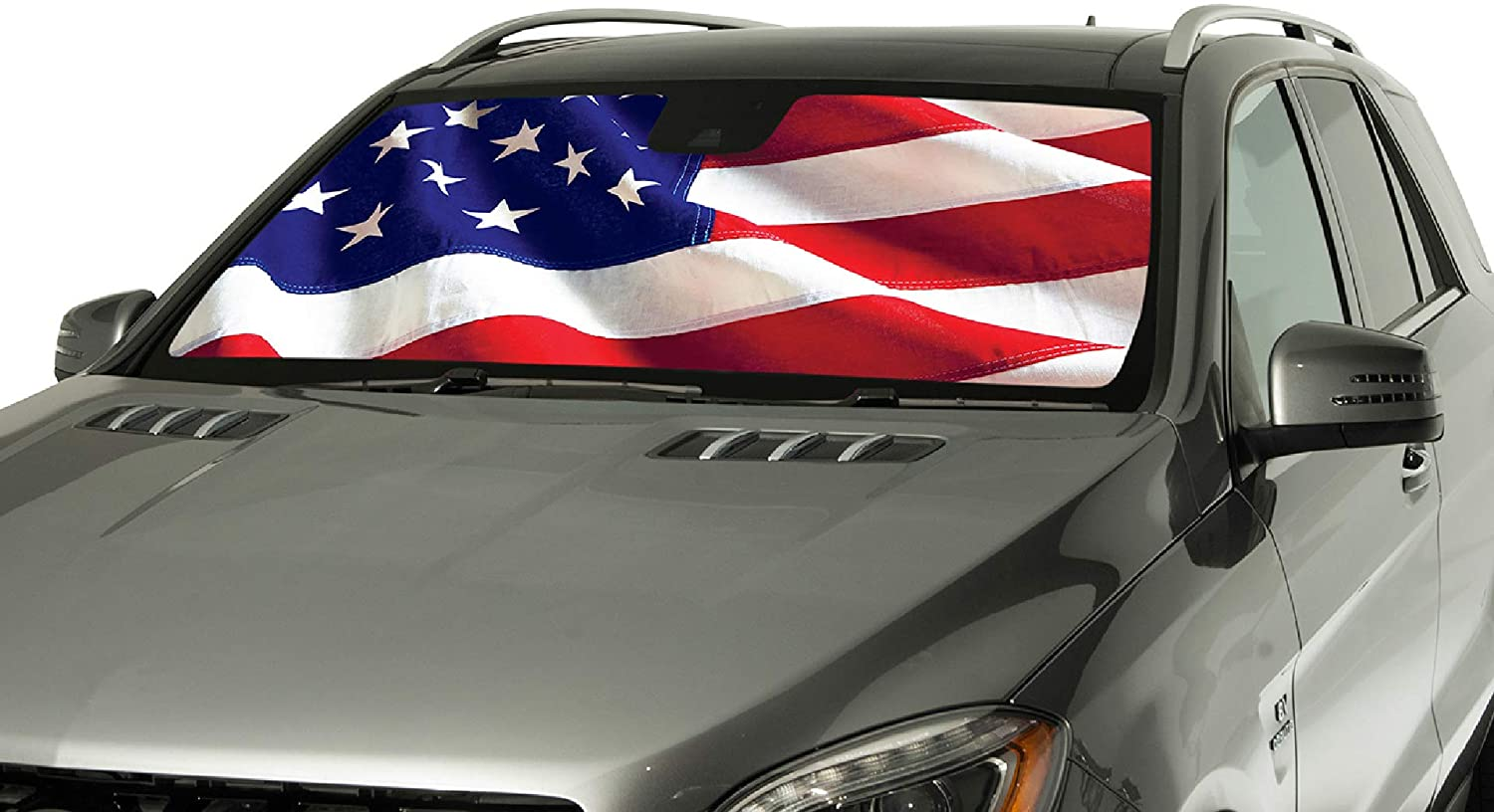 Intro-Tech CD-65A-US Silver Custom Fit American Flag Windshield Sunshade for Select Cadillac Escalade ESV Models, w/Sensor
