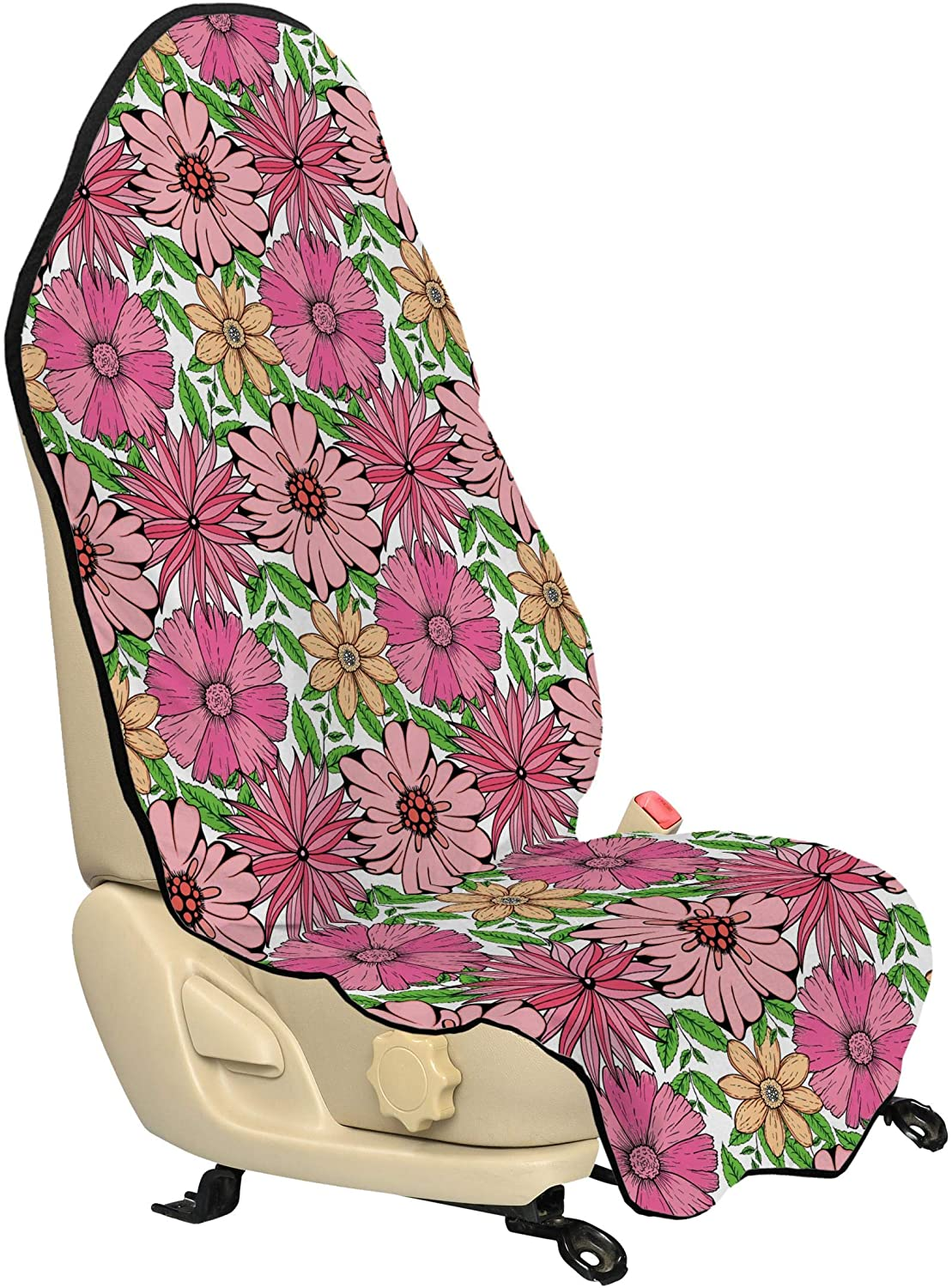 Lunarable Floral Car Seat Hoodie, Medley of Hand Drawn Pinky Spring Flowers of Chrysanthemum Daisy and Lobed Leaves, Car Seat Cover Protector Non Slip Backing Universal Fit, 30