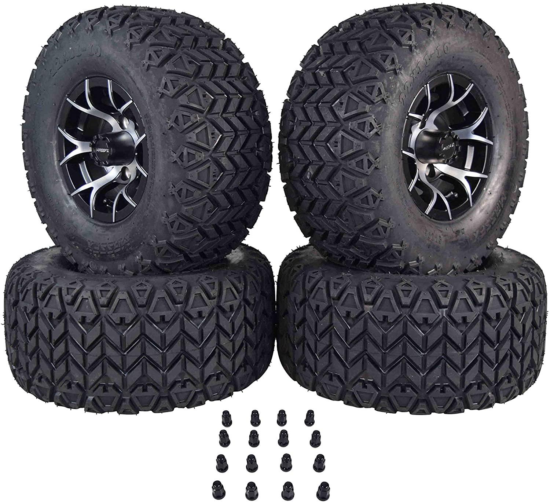 EZGO 22 Tall MASSFX Black Pit Viper Golf Cart 22x11-10 Tire & Wheel Kit 10x7 4/101.6 4 on 4 Bolt Pattern Rim 4 PACK