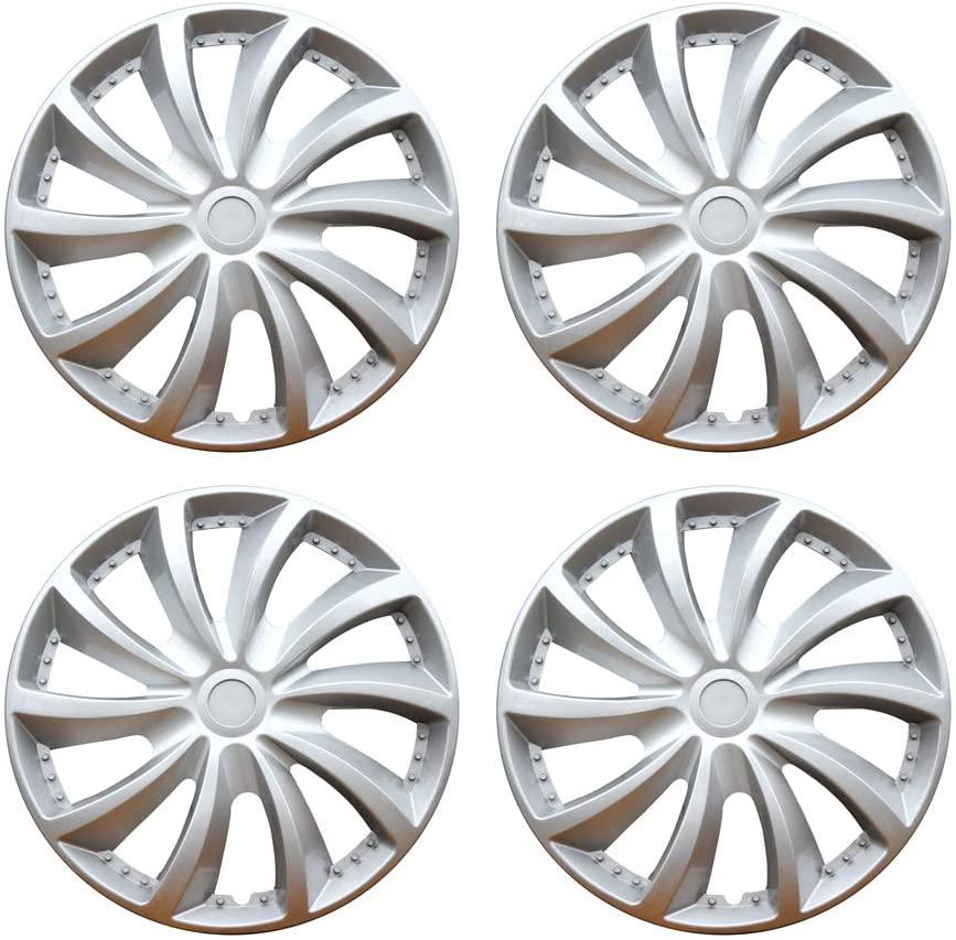 MHUI Car Wheel Trims Hubcaps Wheel,13/14/15inch, Suitable for Car Wheel Cover Car Modification Parts(Silver) 4Pcs,13inch