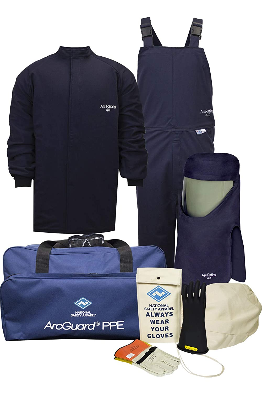 National Safety Apparel KIT4SC40XL10 ArcGuard Compliance CAT 4 Arc Flash Kit with FR Short Coat and Bib Overall, 40 Calorie, X-Large/Glove Size 10, Navy