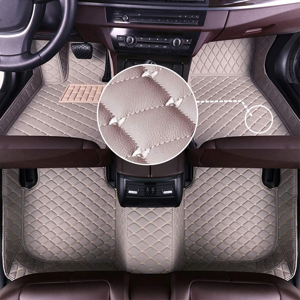 MyGone Car Floor Mats for Chrysler 300C 2012-2016 2013 2014 2015, Leather Floor Liners - Custom Fit Waterproof Comfort Soft, Front Rear Row Full Set Gray