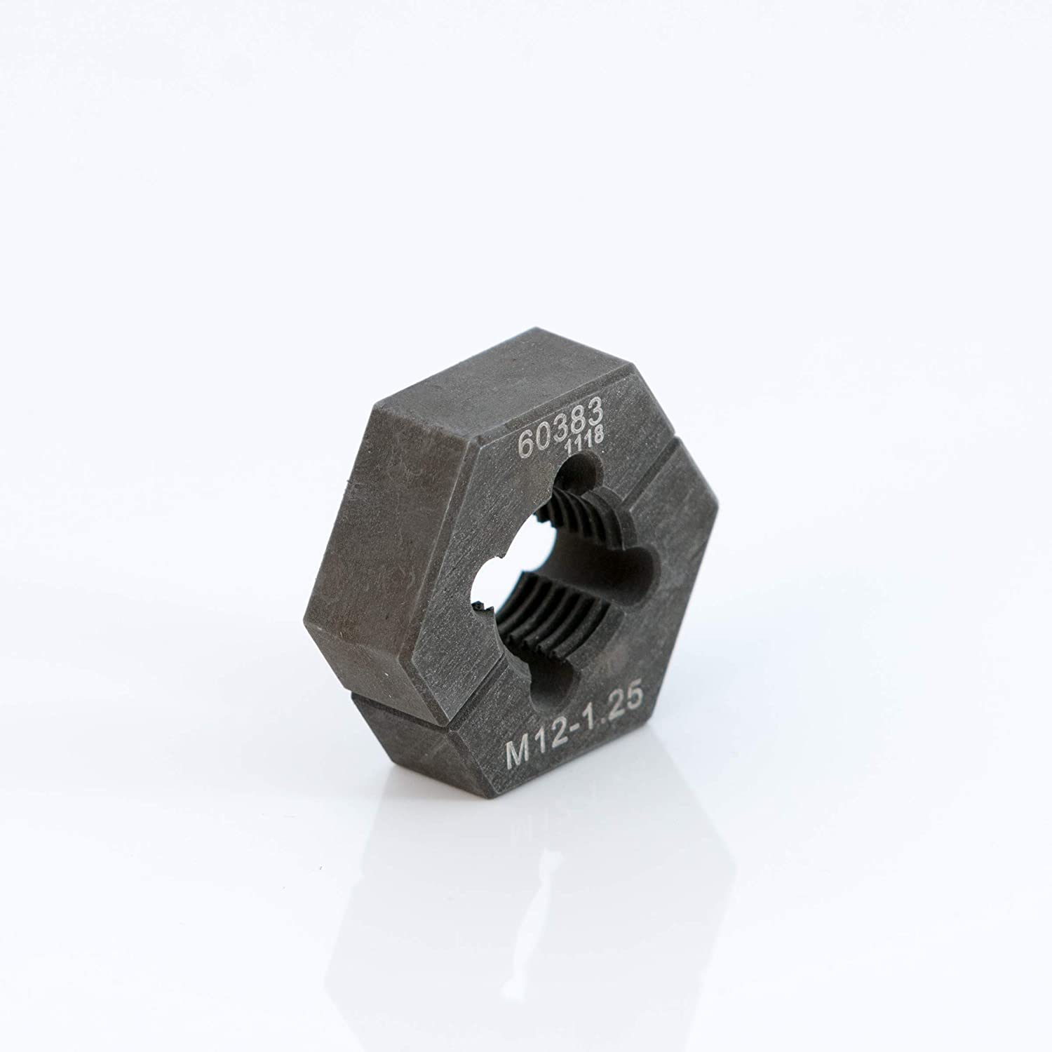 Steelman Professional M12-1.25 Metric Split Die Thread Chaser, Indexing Pins, Steel, Repairs Threads on Wheel Studs and Bolts