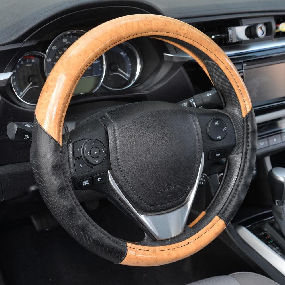 BDK ACDelco 2 Tone - Black/Light Wood Grain Soft Microfiber Leather Steering Wheel Cover for Standard Sizes 14.5 15 15.5