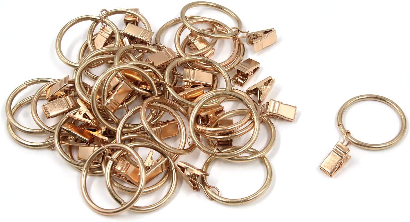Tulead 30PCS Curtain Clip Rings Metal Drapery Ring Hooks Golden Rod Hooks 1.38-Inch