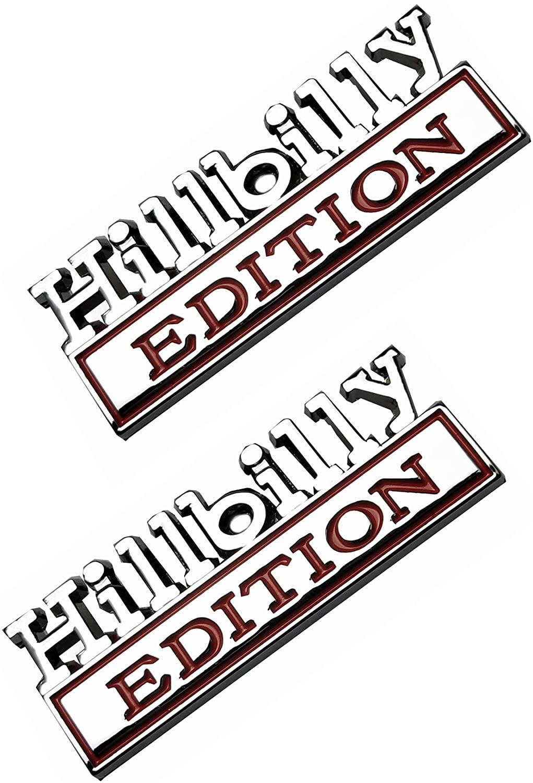 2PCS Metal Hillbilly Edition Truck Emblems Car Badge Decal Exterior Sticker Chrome/Red