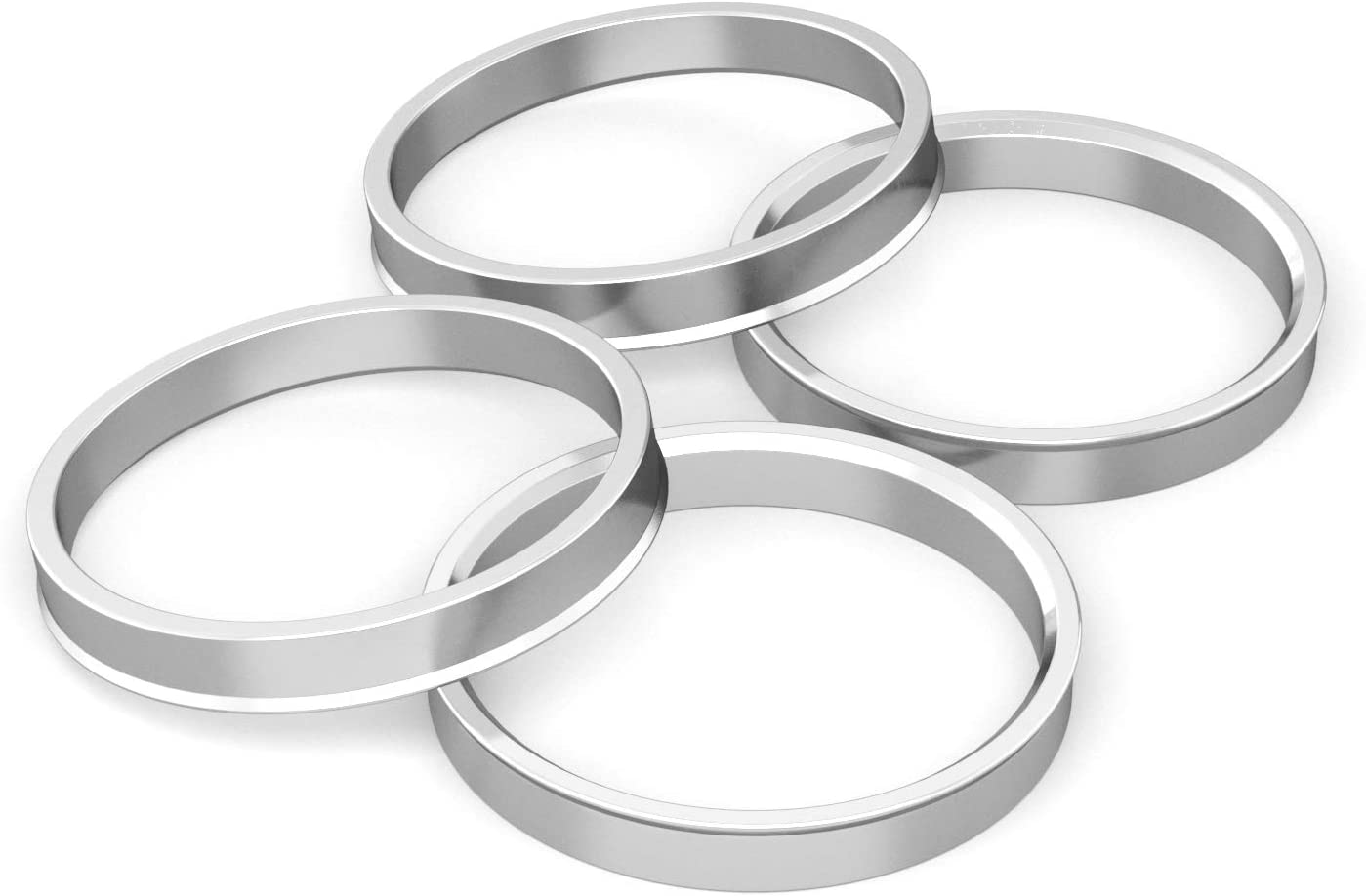 Hubcentric Rings (Pack of 4) - 54.1mm ID to 72.6mm OD - Silver Aluminum Hubrings - Only Fits 54.1mm Vehicle Hubs and 72.6mm Wheel Centerbore - Compatible with various Scion Mazda Toyota