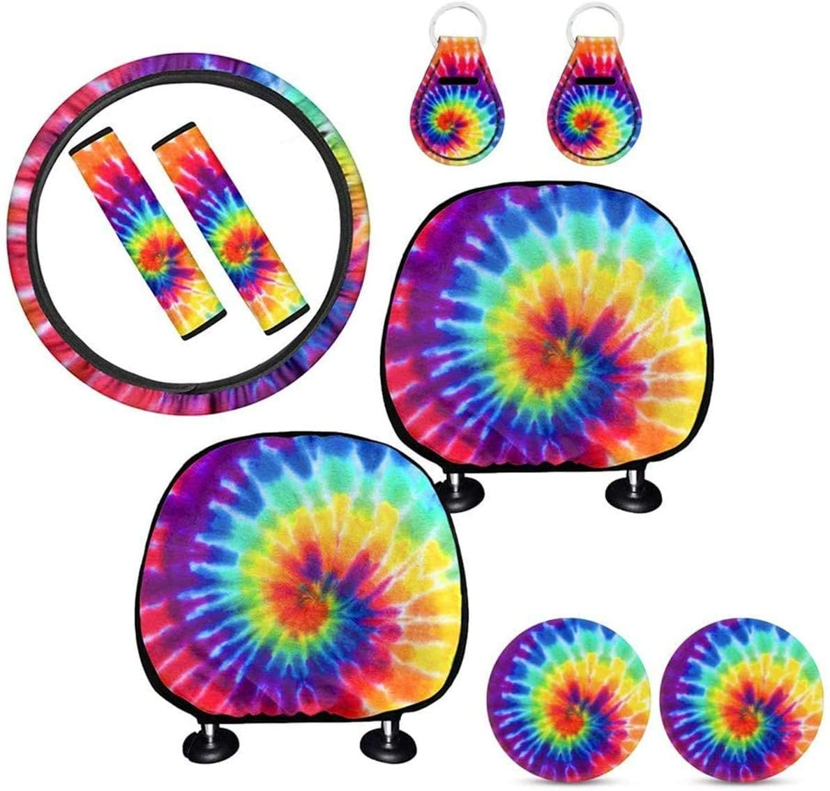BIGCARJOB Bright Color Tie Dye Car Accessories Set, Streering Wheel Cover+Safety Belt Cover+Cup Coaster+Headrest Cover+Keyring,9pcs Set for Women and Man