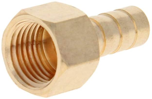 Othmro PCF8-02 G plating Brass Barb Splicer Fitting,Barb Hose Fitting Air Gas Water Fuel,Barbed Tee Connector 1PCS