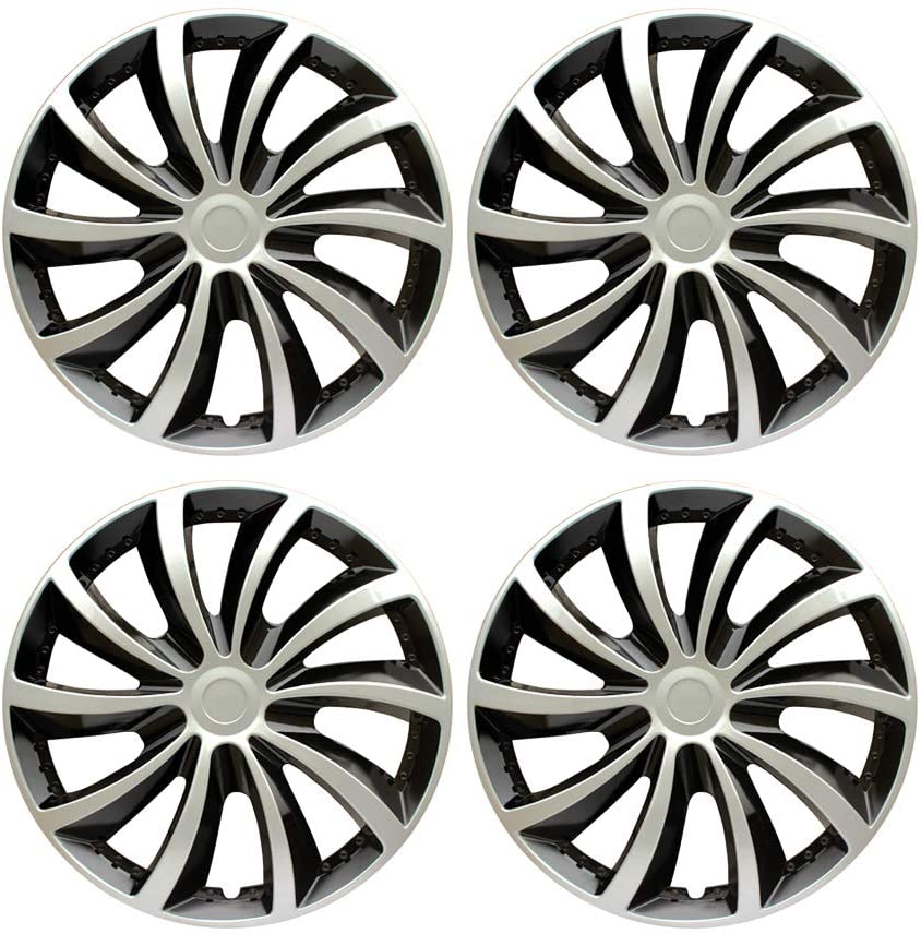 MHUI Hubcaps Wheel 13/14/15inch Wheel Trims, Set of 4, Silver Black,for Most Vehicles,14inch