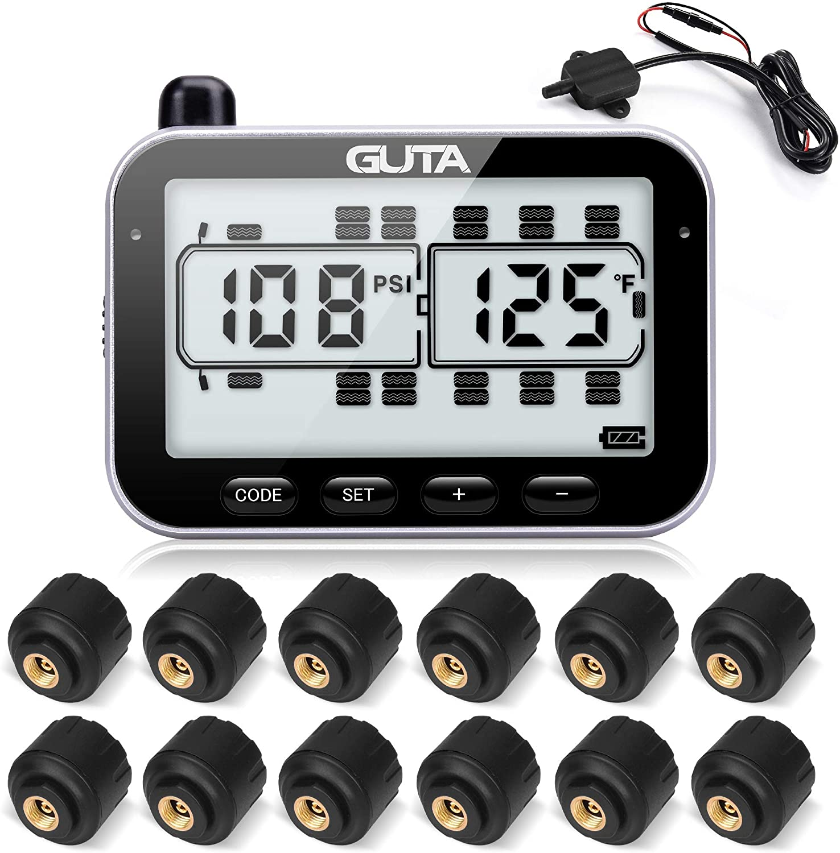 GUTA Tire Pressure Monitoring System - 12 Sensors, 7 Alarm Modes, Large Screen, Endurance Battery Life, Long Sensing Distance, for RV, Trailer, Coach, Motor Home, Fifth Wheel (0-188psi) (-4~185℉)