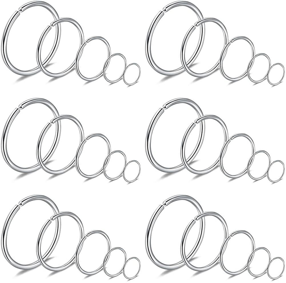 SCERRING 20G Stainless Steel Fake Nose Septum Hoop Rings Lip Helix Cartilage Tragus Ear Eyebrow Ring Piercing 6-10mm 30PCS