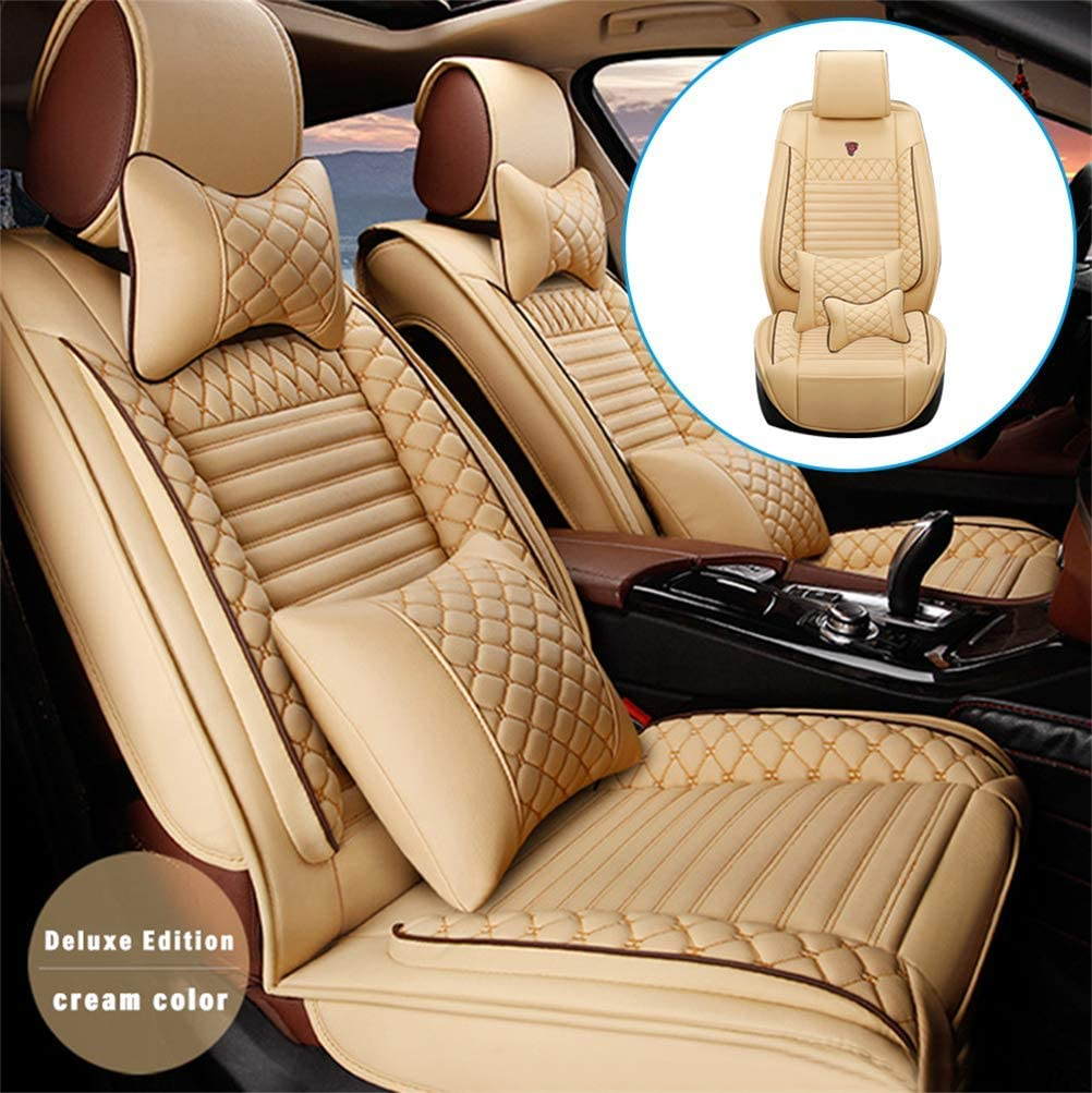 DBL Car Front Seat Cover for Infiniti G20 (Airbag Compatible) Luxury PU Leatherette Car Seat Cushions Protector (Beige)