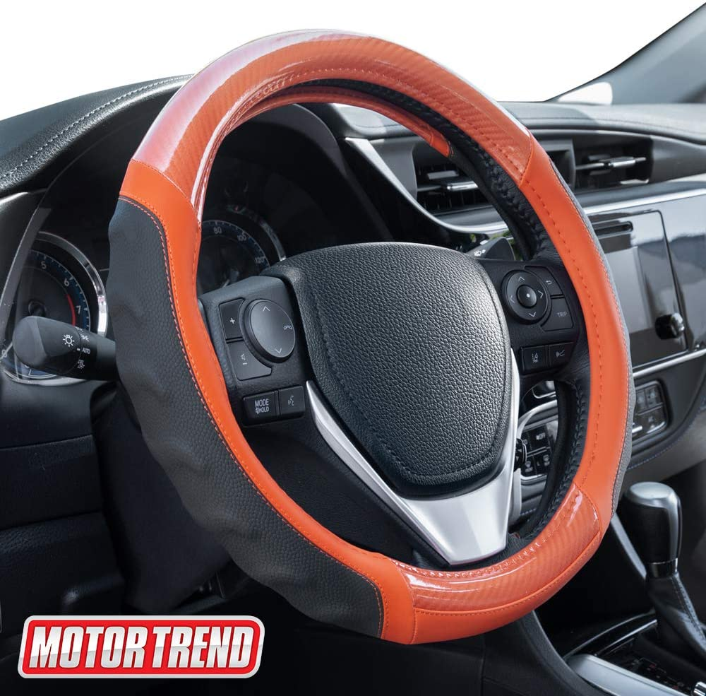 Motor Trend SW-812 Orange Ultra Sport Pebbled Leather Steering Wheel Cover with Carbon Fiber Detail-Universal Fit for Standard Sizes 14.5 to 15.5 inches Black