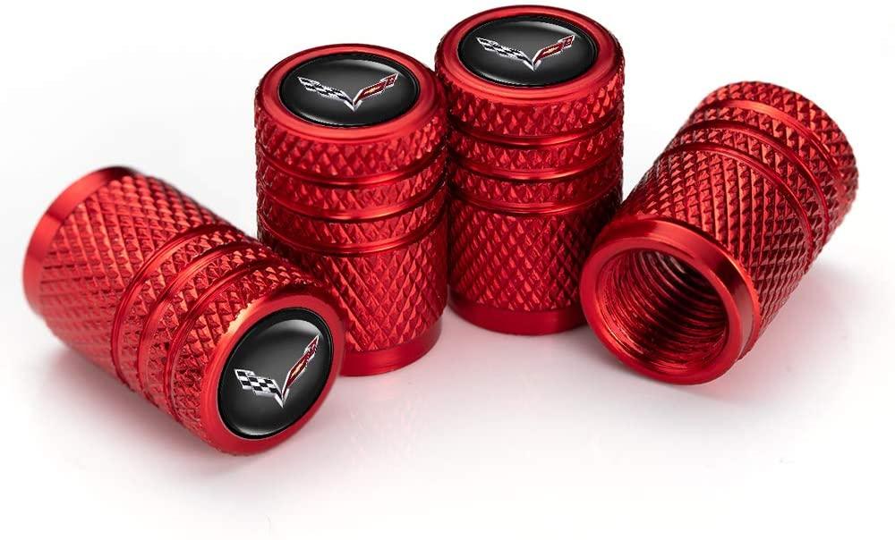 IJUSTBY 4 Pcs Metal Car Wheel Tire Valve Stem Caps for Chevrolet CorvetteLogo Styling Decoration Accessories.