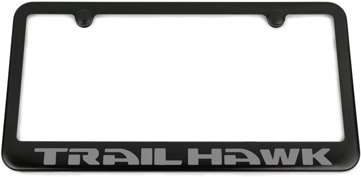 High-End Motorsports Jeep TRAILHAWK License Plate Frame - Satin Black - Engraved Logo - Grand Cherokee - Cherokee - Compass - Renegade (Grey)