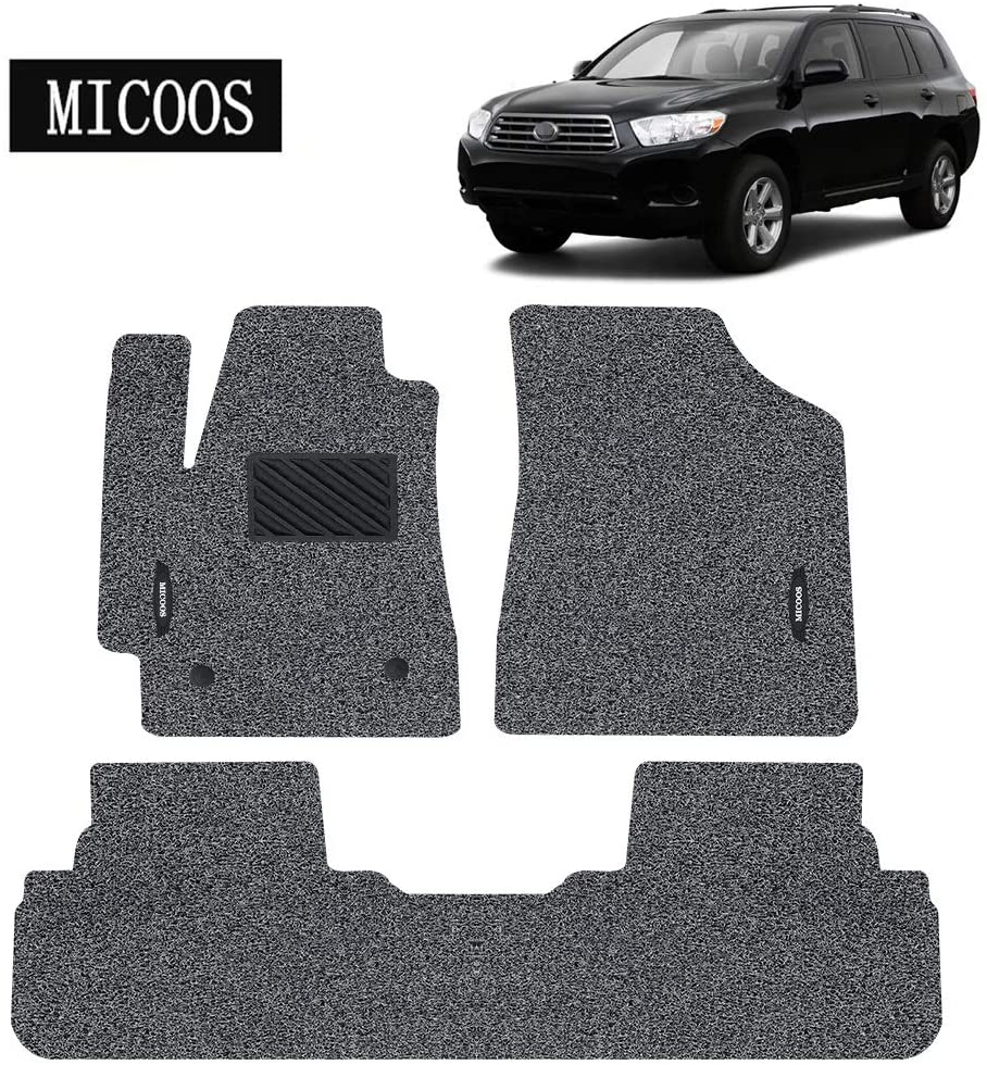 MICOOS Compatible with Car Floor Mat Carpet for Toyota Highlander 2008-2013, All Weather Heavy Duty Floor Mat Set Waterproof Stain-Resistant (Gray and Black)