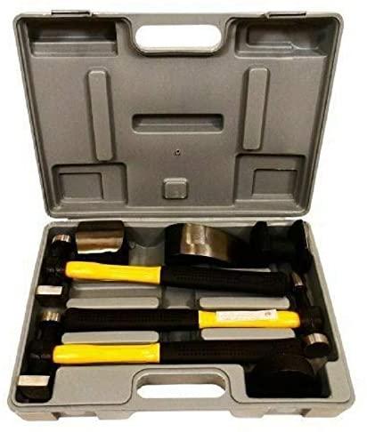 7pc Fiberglass Auto Body Repair Tools Fender Tool Kit Hammer Dolly Dent Bender