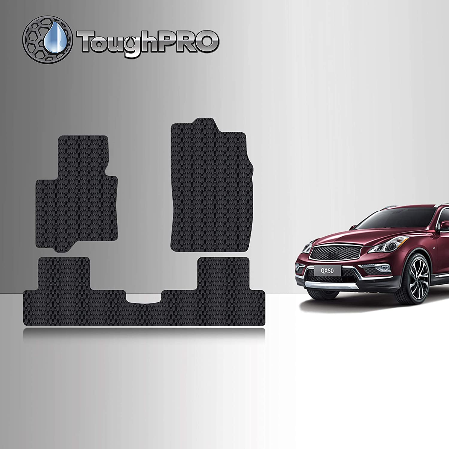 TOUGHPRO Floor Mat Accessories Set (Front Row + 2nd Row) Compatible with Infiniti QX50 - All Weather - Heavy Duty - (Made in USA) - Black Rubber - 2016, 2017…