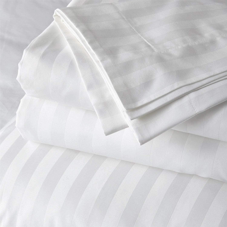 4 Piece Premium Sheet Set Cotton Queen, 100% Egyptian Cotton, 400 Thread Count, 15 Inch Deep Pocket of Cotton Sheets, White Stripe
